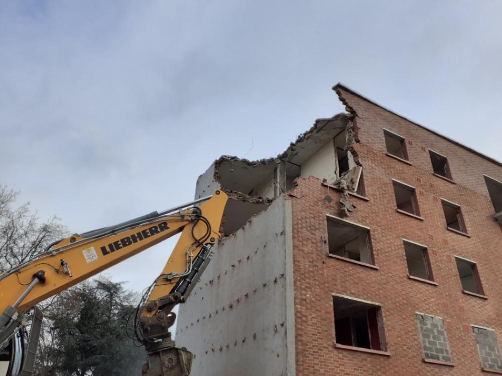 Chantier de démolition des immeubles LMH boulevard de Metz à Lille